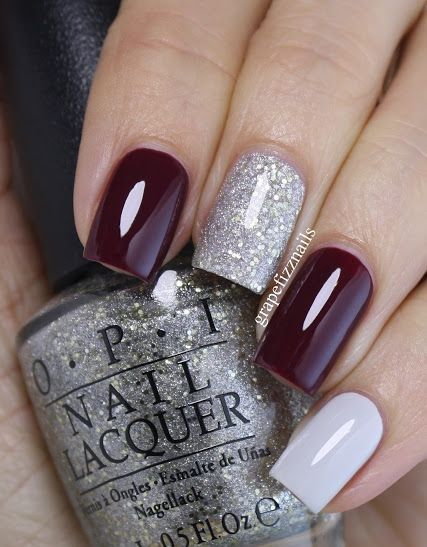 white silver and wine red nails