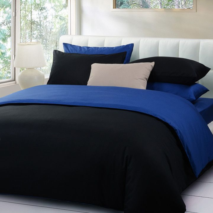 High Quality Solid Color 5pcs Bedding Set Queen Black And Blue Duvet Cover Bed Sheet Comforter Jpg 720 720 Blue Bedding Sets Royal Blue Bedrooms