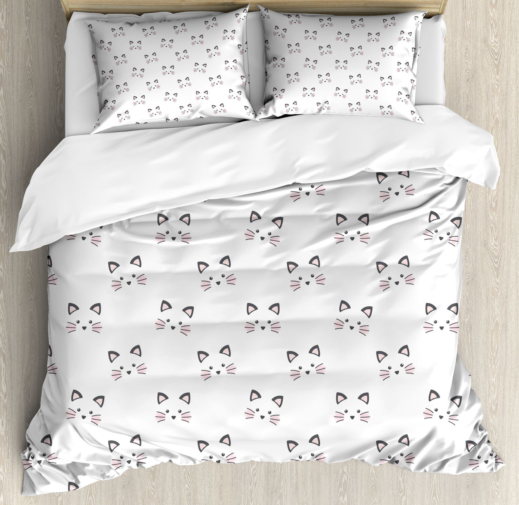 Kitten Duvet Cover Set Sketching Of A Blushing Cat Face Features Cartoon Style Hand Drawn Cat Whiskers Decorative Be Bed Decor Cute Bed Sets Duvet Cover Sets