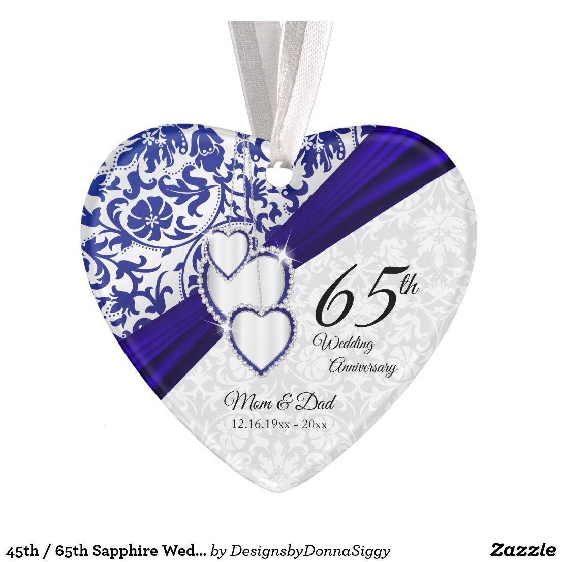 45th / 65th Sapphire Wedding Anniversary Keepsake Ornament