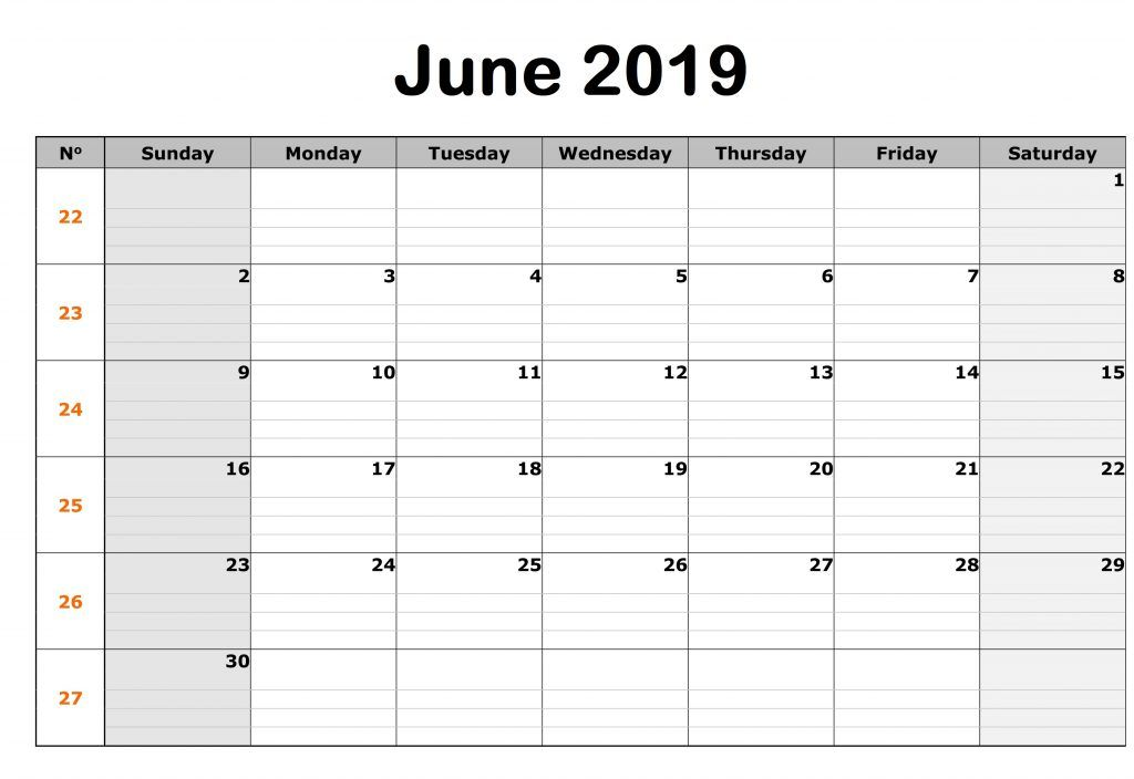 Editable June 2019 Calendar Printable Blank Template With Notes