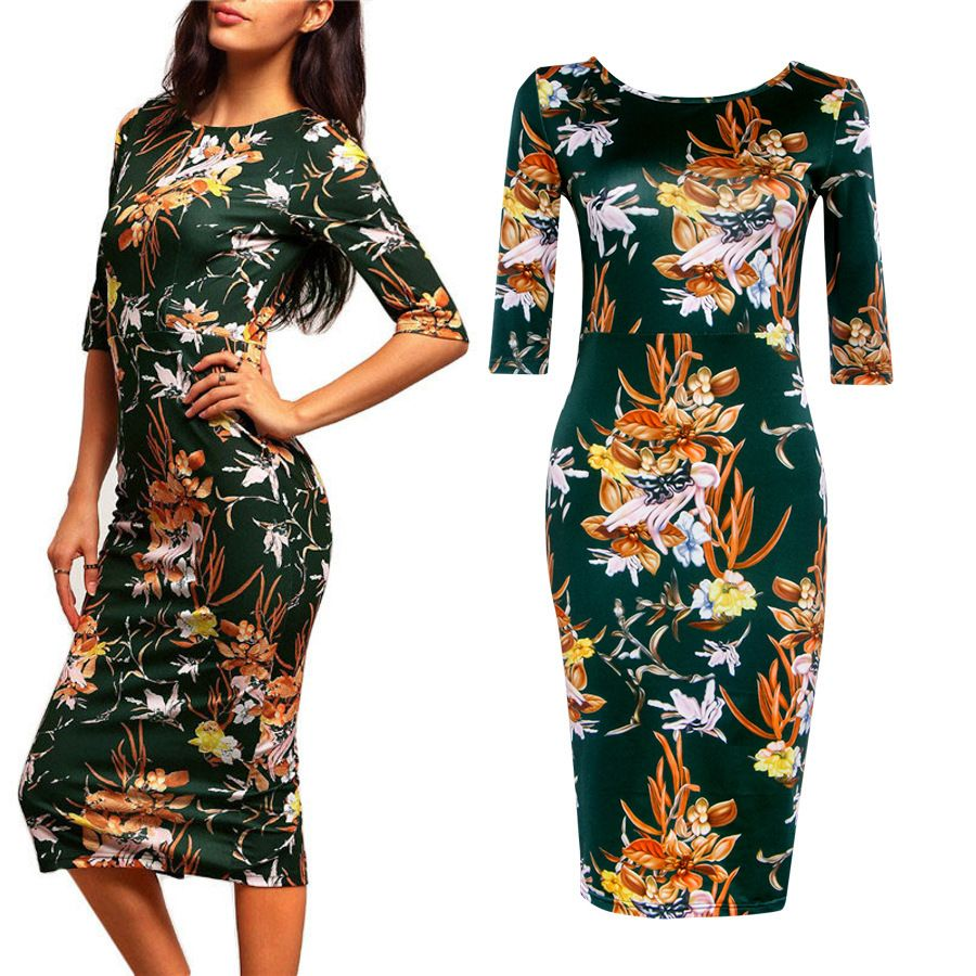 2017 Fashion New Design Apparel Evening Party Elegant Women Sexy Floral Summer Dress Sleeves Pencil Dress Women Vestidos