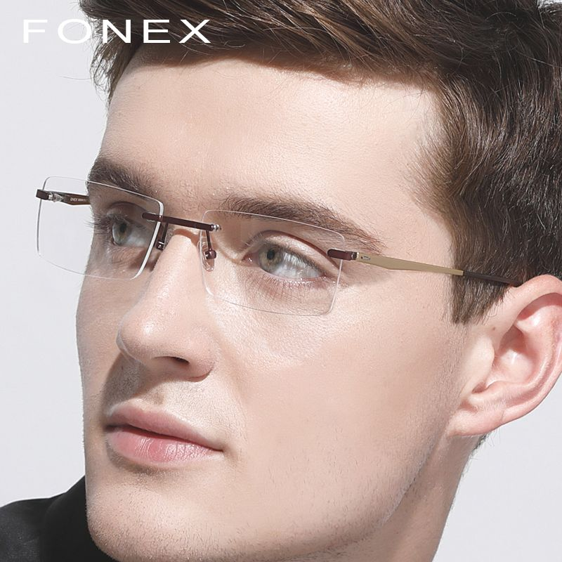 c6af11828c Titanium Rimless Glasses Frame Men Ultralight Women New Prescription  Eyeglasses Myopia Optical Frame Frameless Screwless Eyewear Review