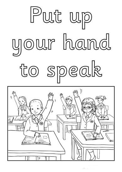 Ingilizce Sınıf Kuralları Boyama Sayfaları Eğitim