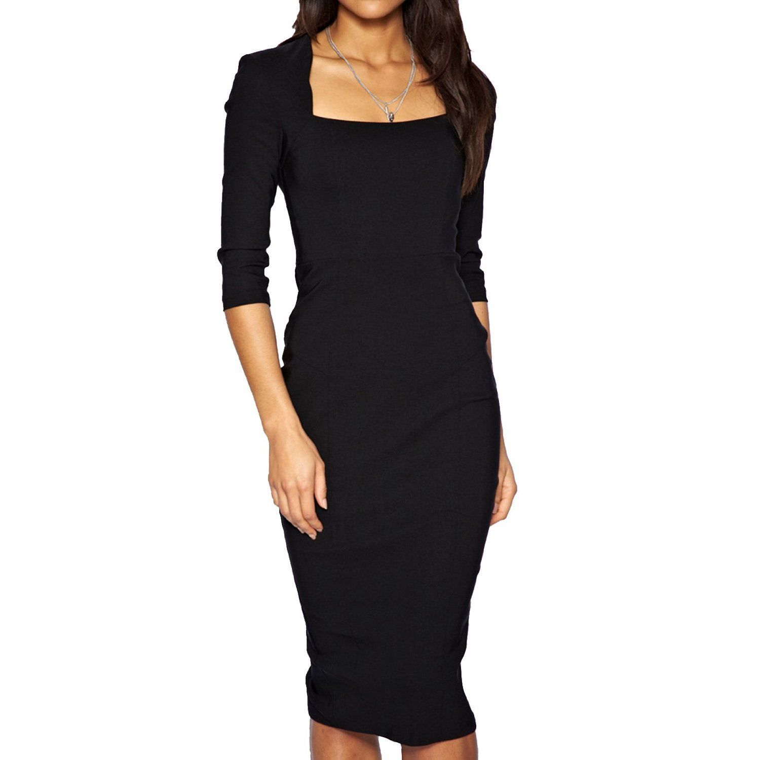 Pencil Dress With Sleeves Black Office Dress For Women Office