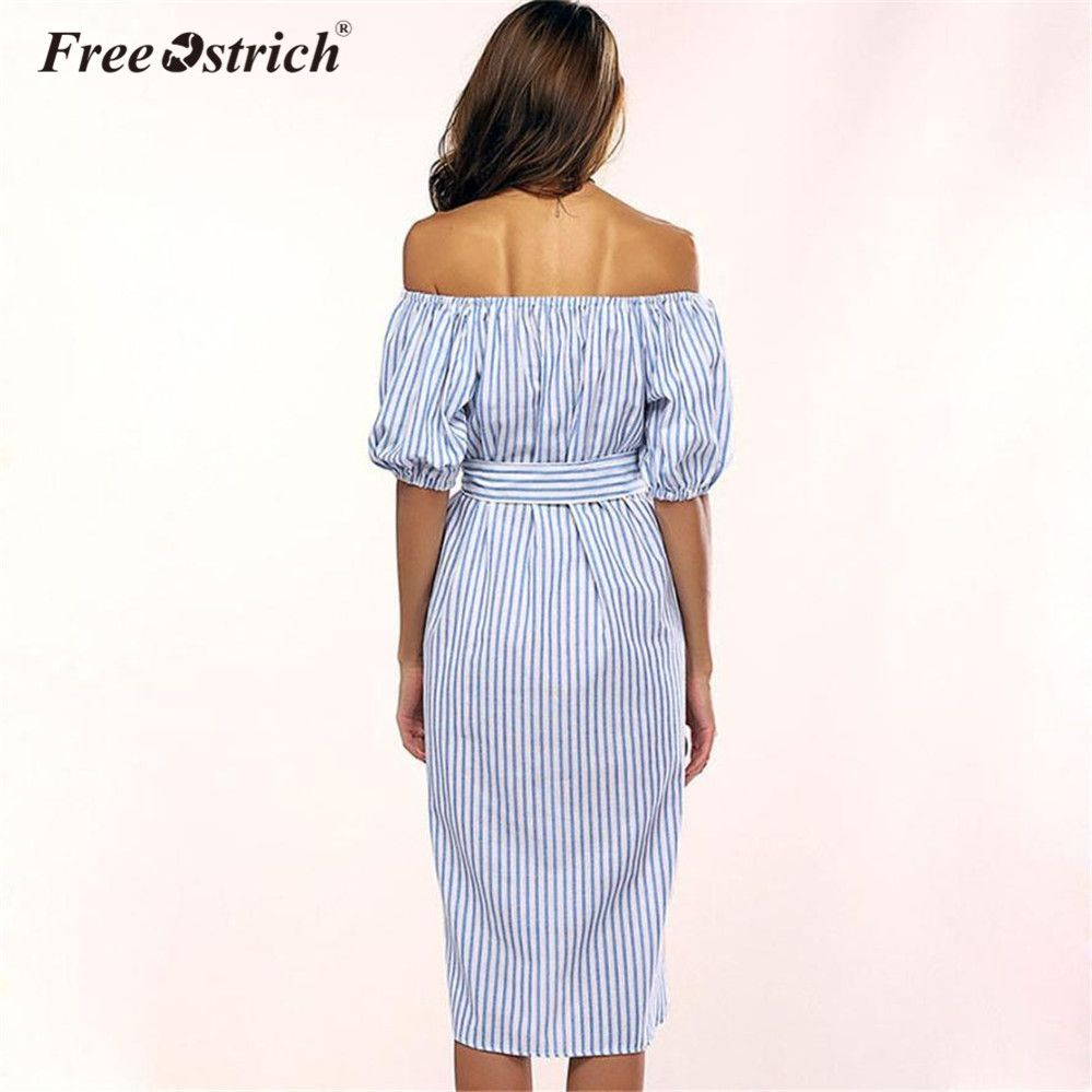 691c3678de118 Free Ostrich Striped Dress Women Off Shoulder 2018 Fashion Short ...