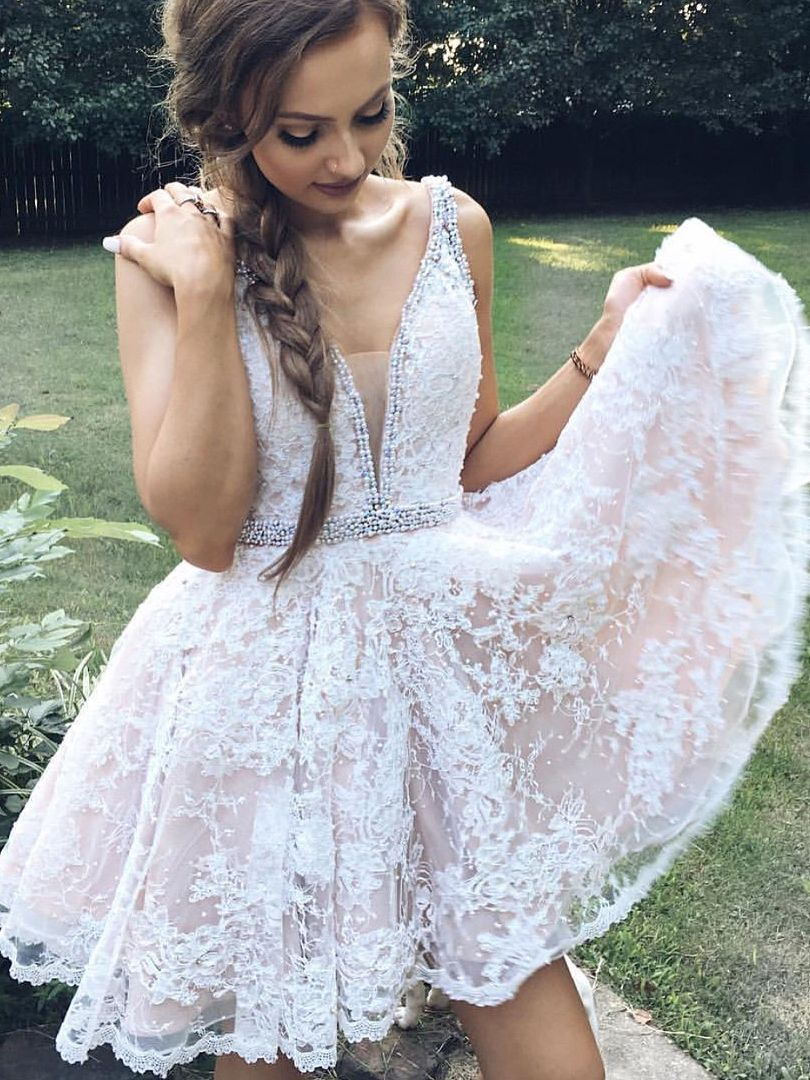 White Lace Homecoming Dress With White Pearls Lace Homecoming Dresses Elegant Homecoming Dresses Short Lace Dress [ 1080 x 810 Pixel ]