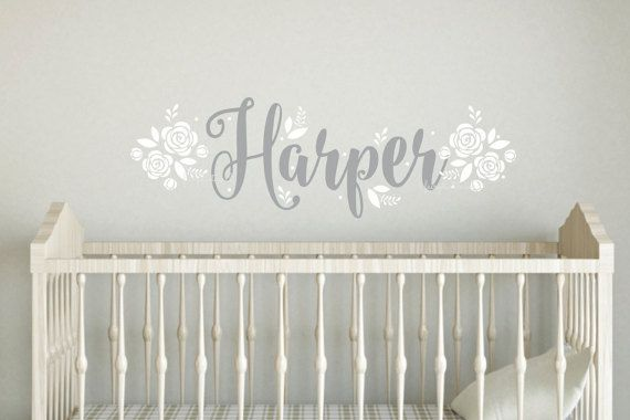 Wall Decal Baby Name With Flowers Roses