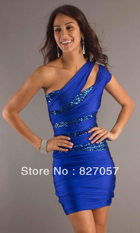 Free shipping royal blue th grade graduation dresses sequins mini