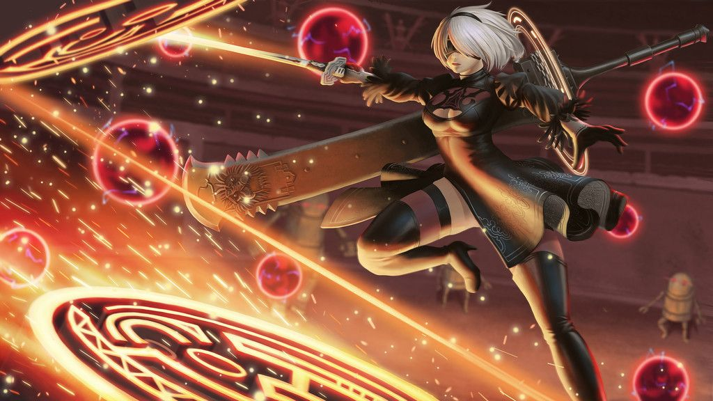 2b Fight Video Game Nier Automata Wallpaper 画像あり