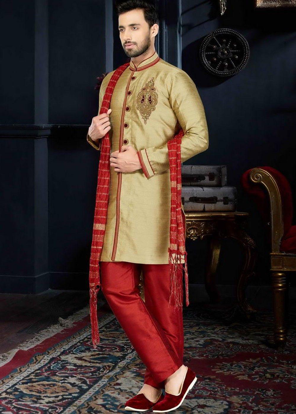 Readymade Golden Art Silk Sherwani (With images