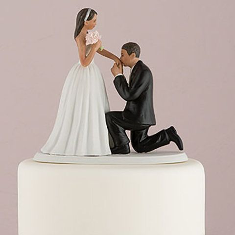 "Figurine mariés metisses ""Demande en Mariage"""