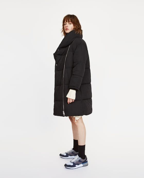 9791b85a129a Image 4 of LONG PUFFER COAT WITH CROSSOVER ZIP from Zara