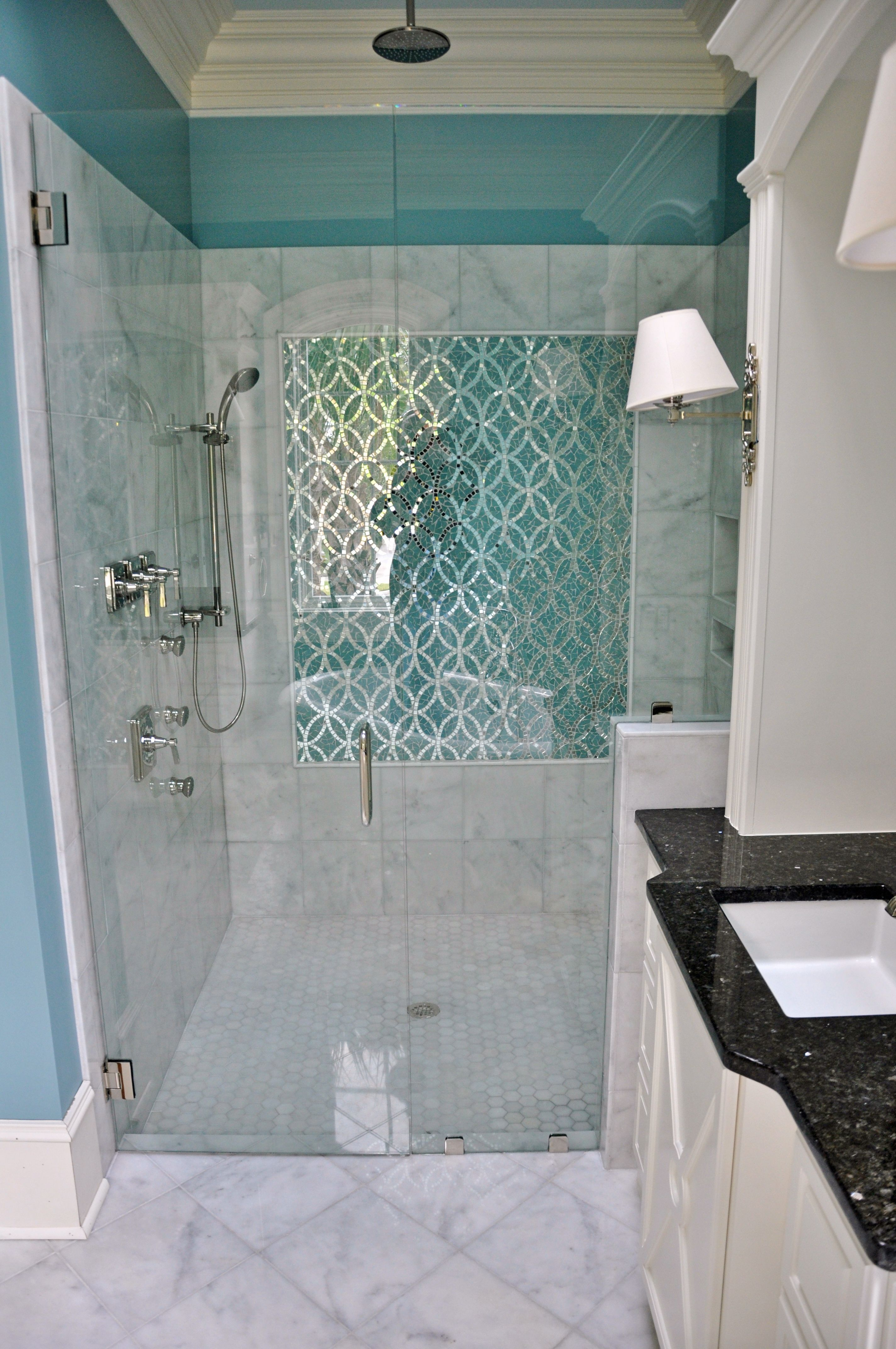Cararra Marble With Glass Mosaic Panel On Back Shower Wall
