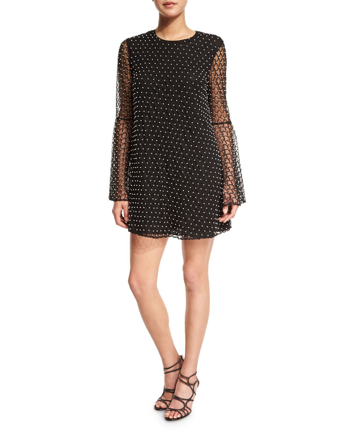 Long-Sleeve Beaded Net Tulle Dress, Black - Camilla and Marc