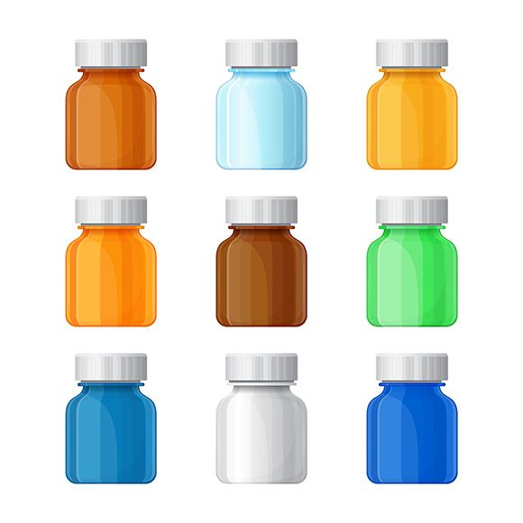 Medical bottles set @creativework247