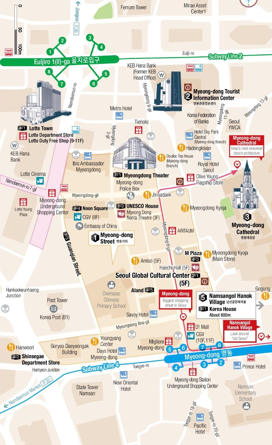 Myeongdong and Euljiro map Gangnam Style Pinterest Seoul