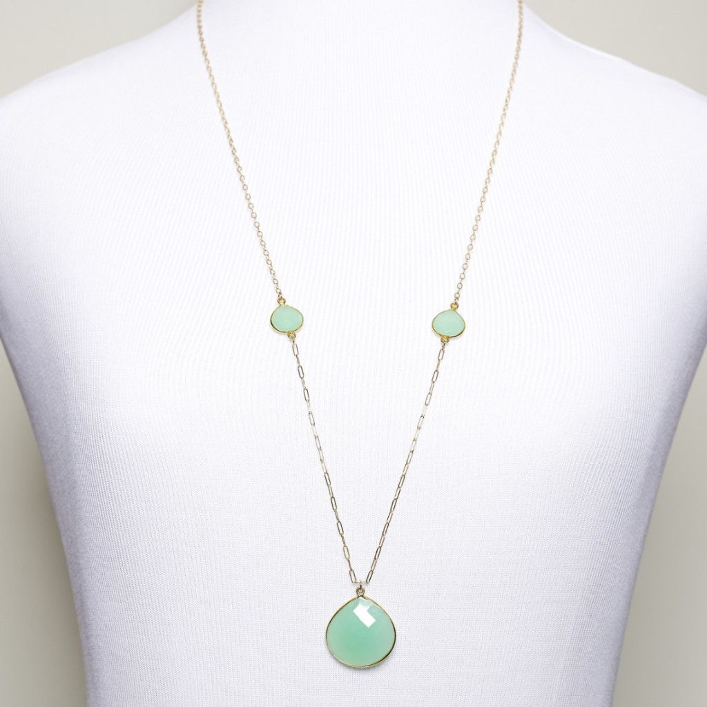 3/2 Necklace in Chalcedony