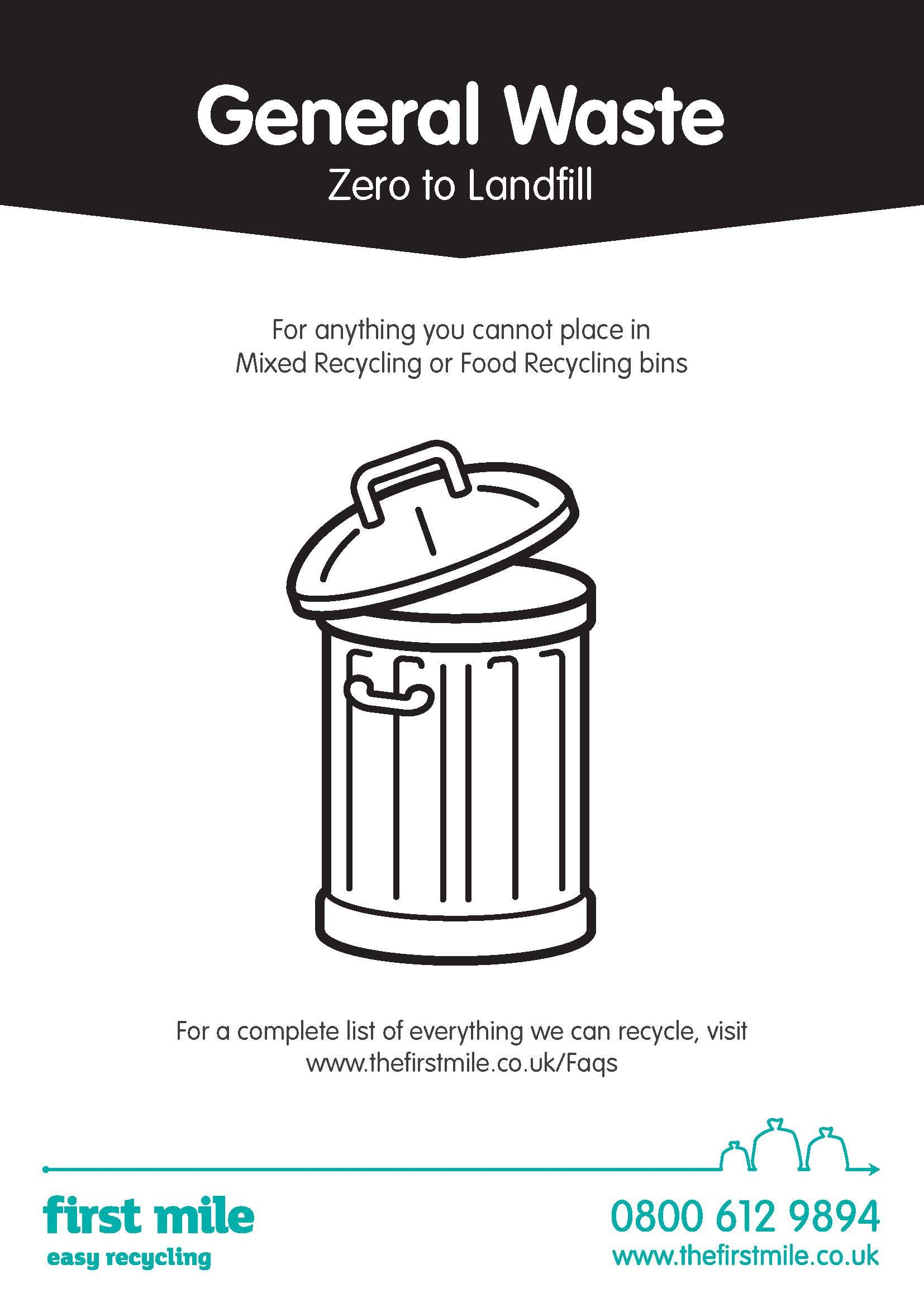 Zero to Landfill General Waste Poster