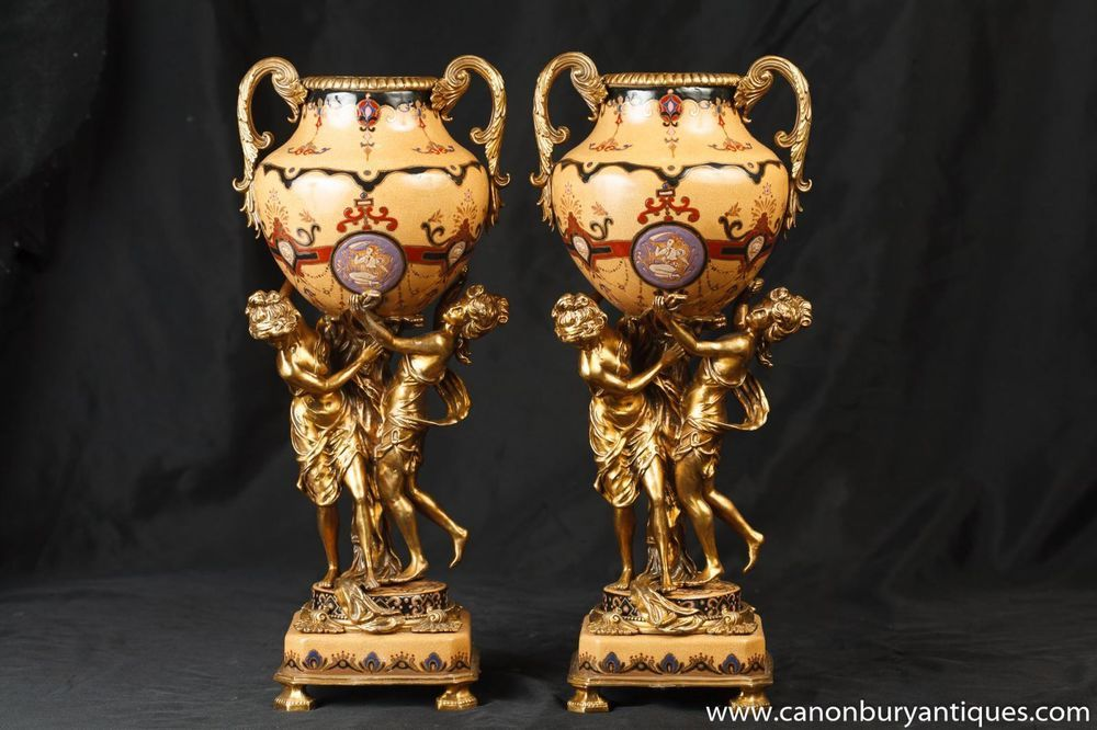 Pair French Empire Ormolu Maiden Urns Comports Vases