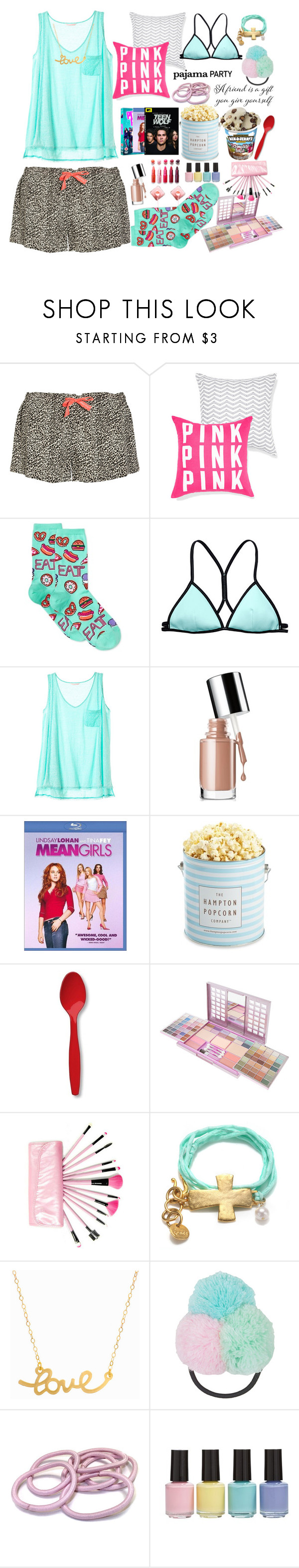 """Pajama party"" by mycherryblossom ❤ liked on Polyvore featuring Calvin Klein Underwear, HOT SOX, Beach Sexy, Victoria's Secret, Clinique, The Hampton Popcorn Company, Creative Converting, MAC Cosmetics, Minnie Grace and Topshop"