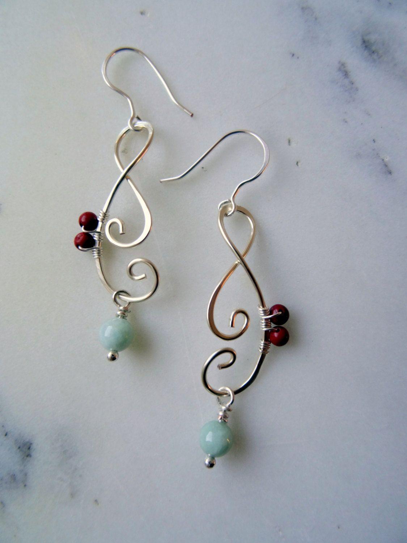 Unusual Jade Earrings Red Jasper Detail Hand Forged Boho Green Drop Pale Jewellery Uk Pinned By