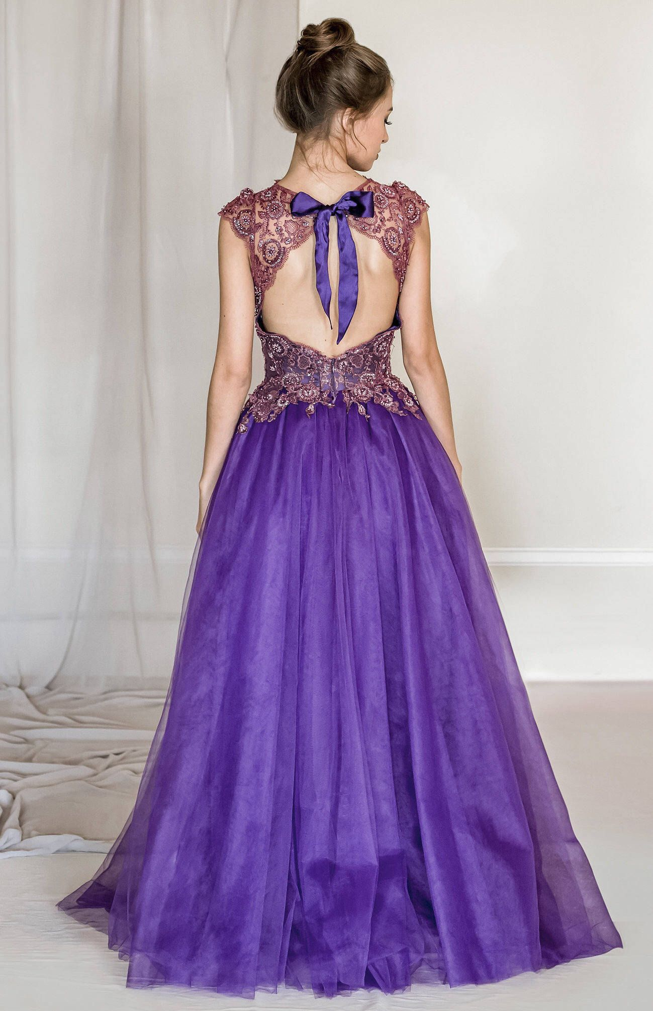 Violet Lace And Tulle Evening Gown Purple