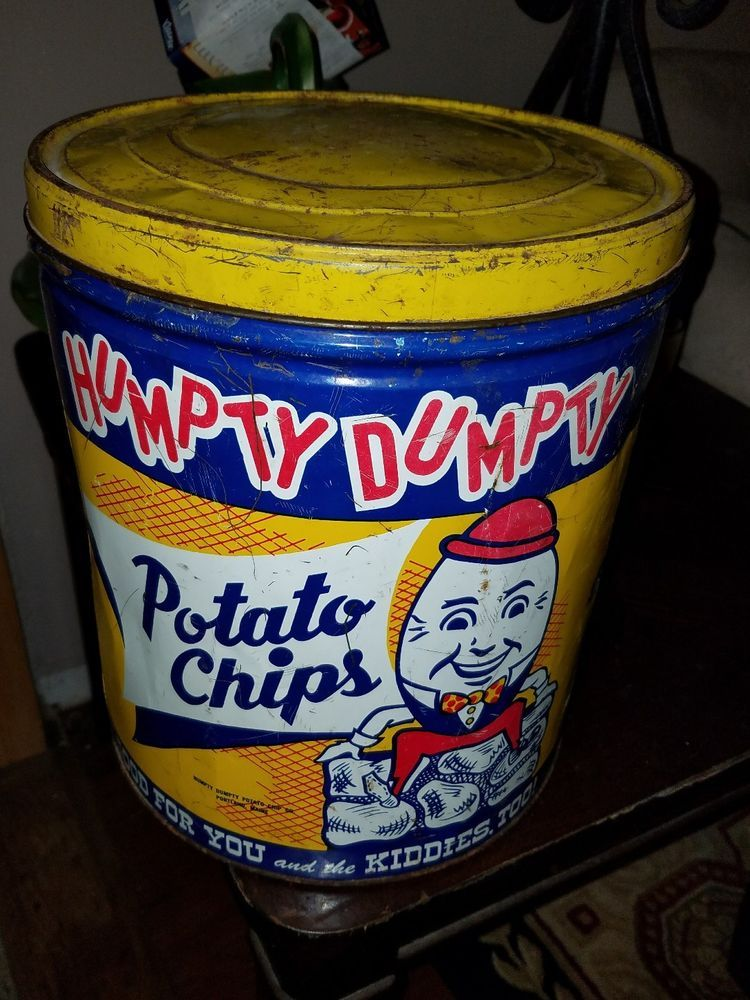 Vintage Humpty Dumpty Potato Chips Tin Can with Lid Large