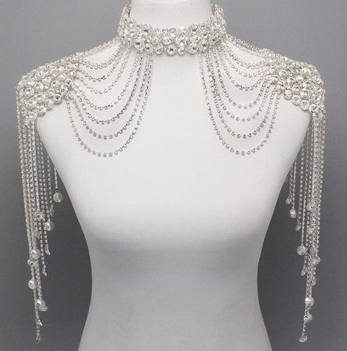 09aa7aa527f Bridal Couture Steampunk GLAMOUR Crystal Shoulder Neck Choker Body ...