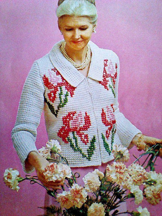 Vintage Crocheted Women's  Flowered Jacket Pattern Size 32-50