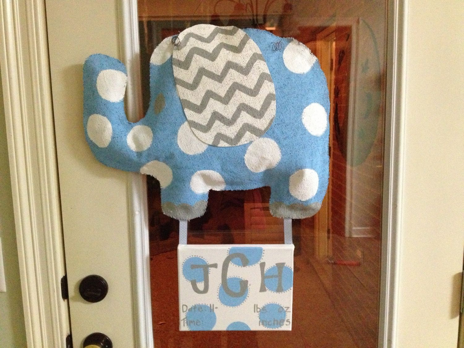 Burlap Elephant And Canvas Baby Door Hanger By Ohburlap On Etsy Babies Pinterest