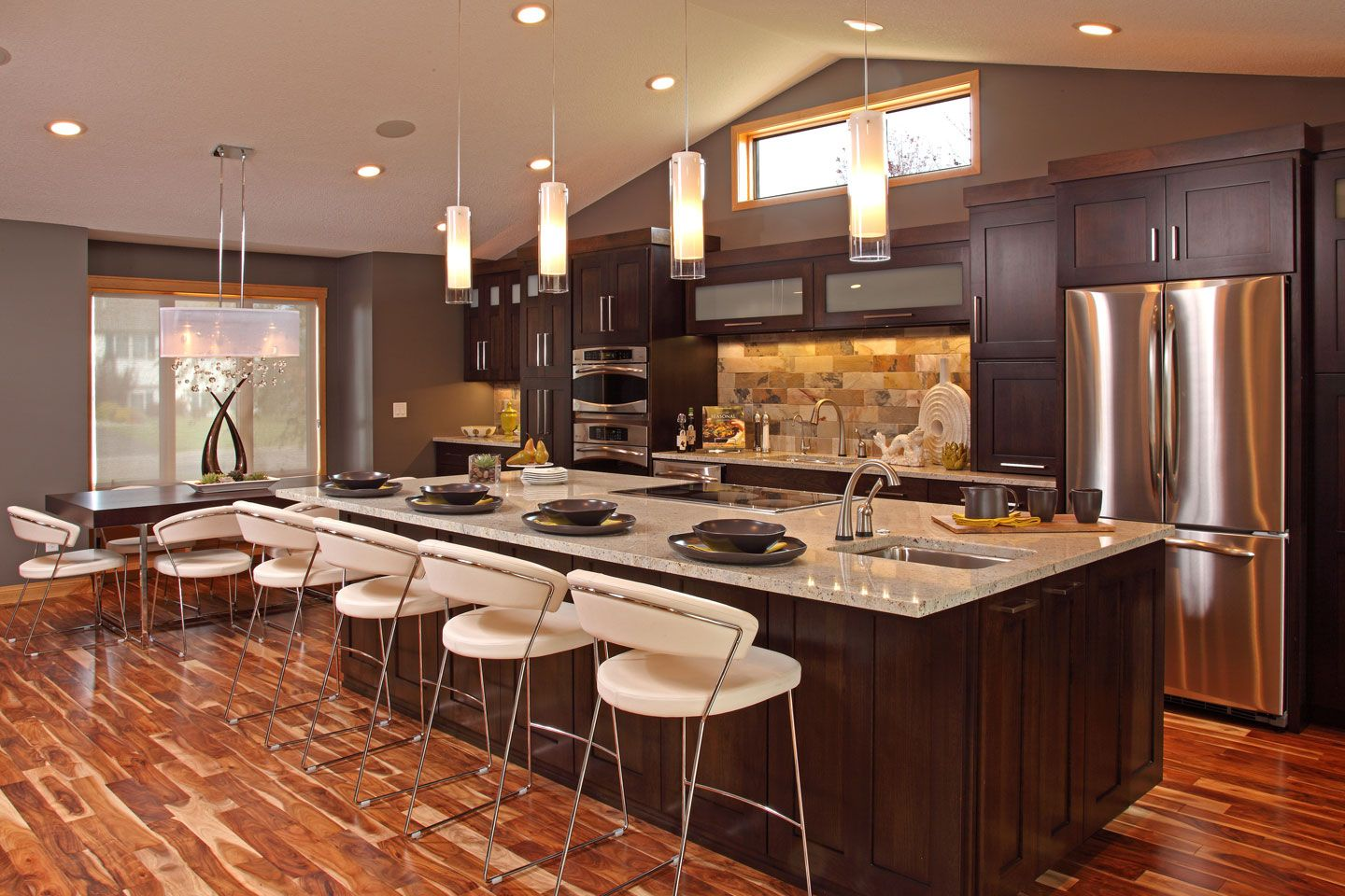 Kitchen Astonishing Spacious Galley Makeover Design Ideas With Dark Brown Wooden Veneer And Rectangular Island White Marble Top Also Classy