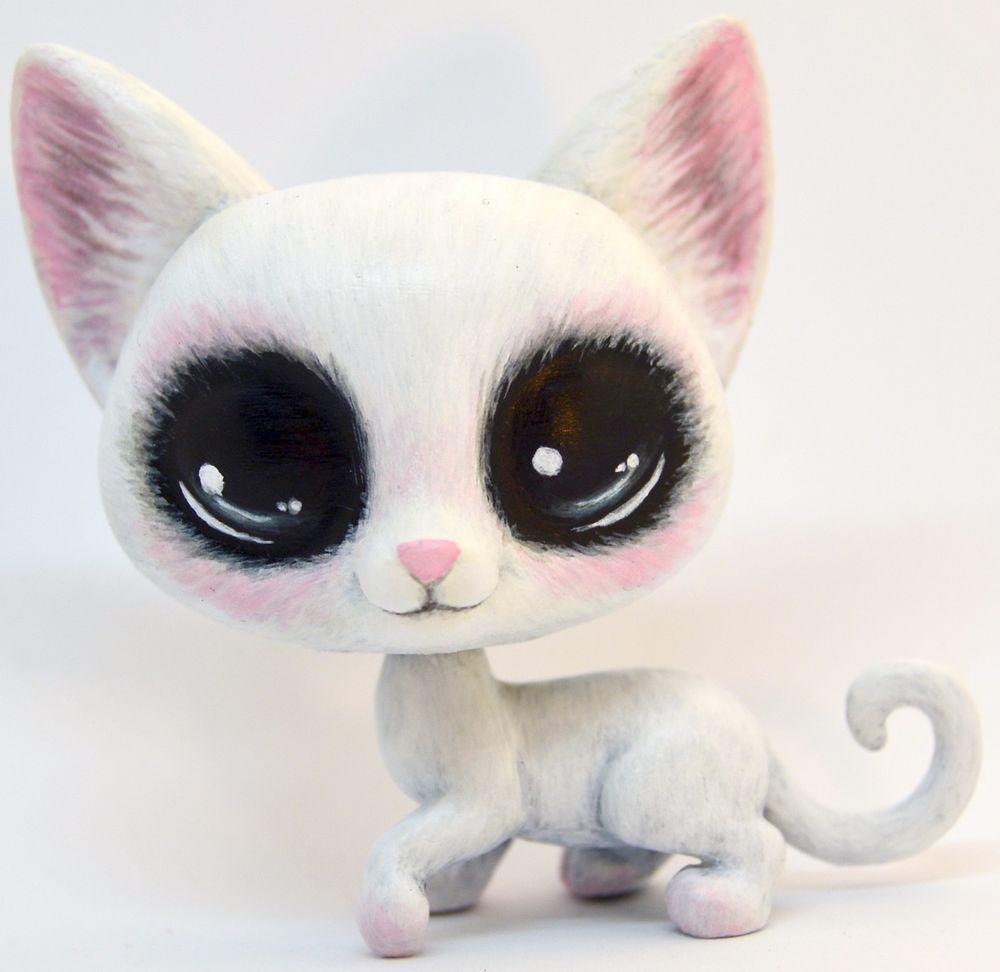 Littlest Pet Shop Ooak Custom Blushing White Cat Hand Painted 97