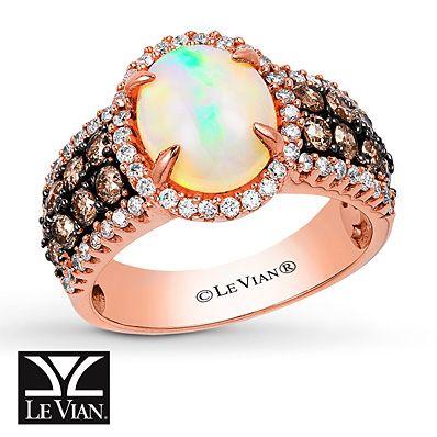 Le Vian Opal Ring 1 1 6 Ct Tw Diamonds 14k Strawberry Gold