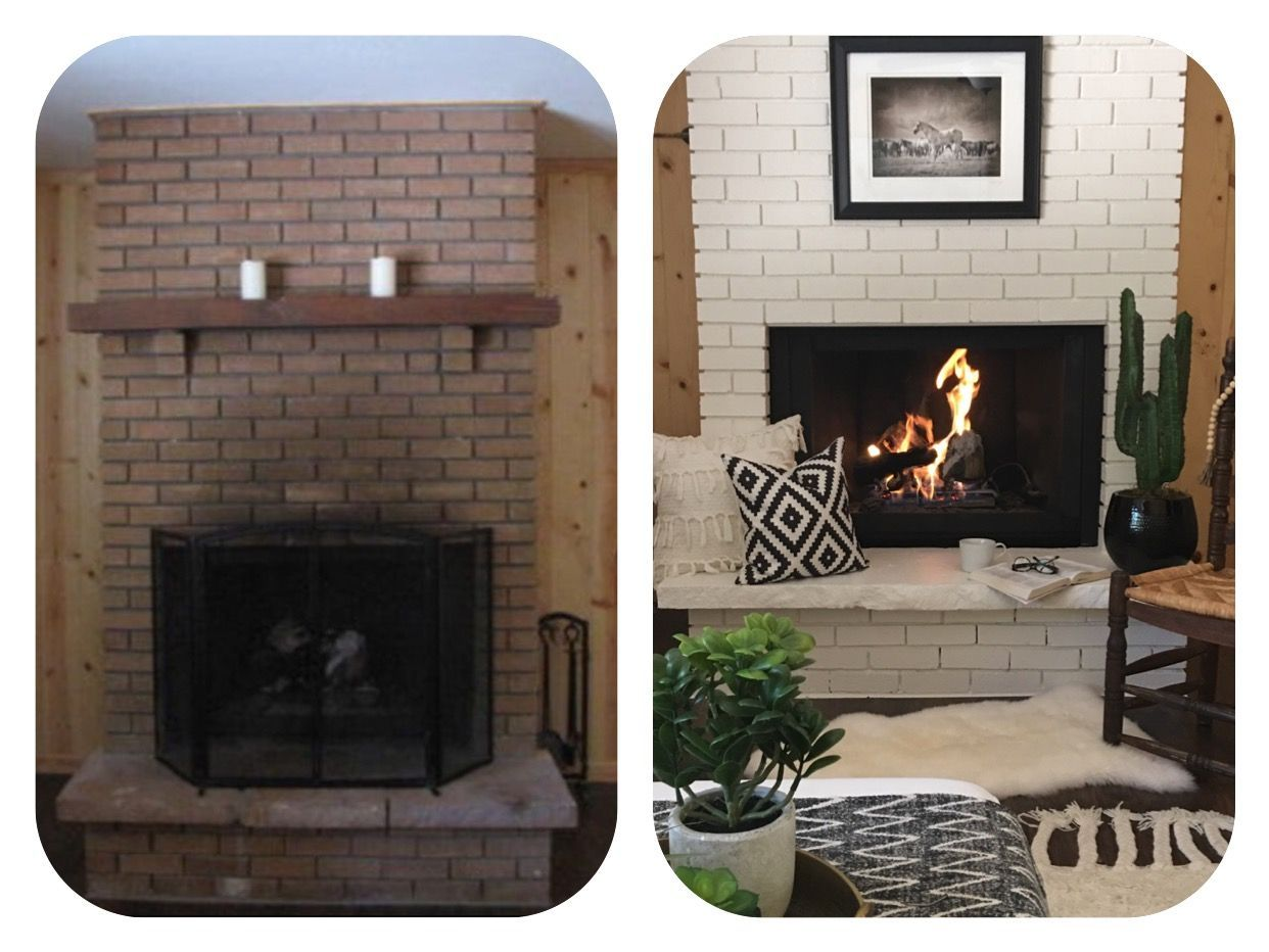 Painted brick fireplace before and after remodeling pictures