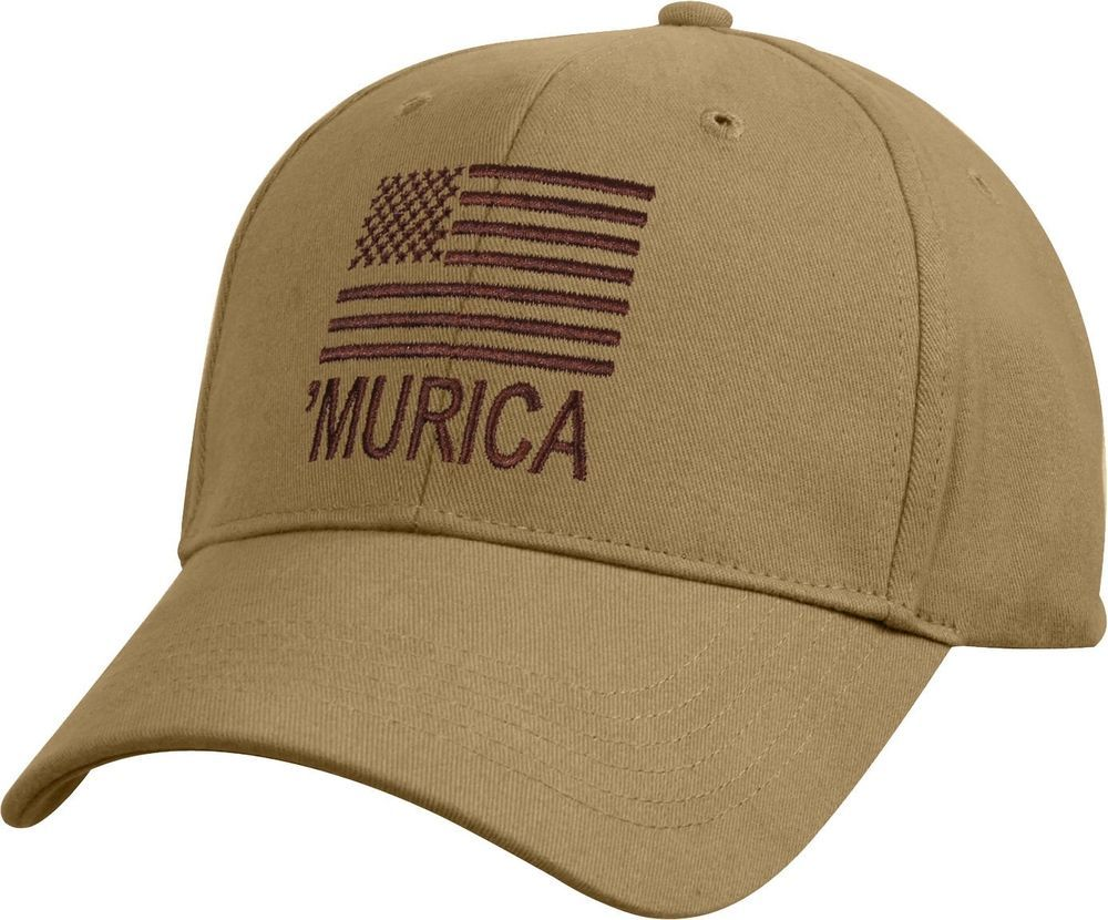 Coyote Brown  MURICA Subdued US Flag Embroidered Low Profile Baseball Cap  Hat  Rothco  BaseballCap 603eca0d864