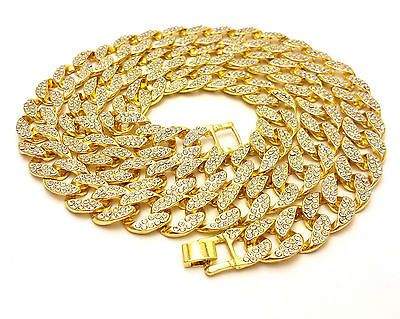 Mens 14k Gold Finish 8mm Miami Cuban Link Chain Stone Lock Stainless Steel Choker Iced Out Unisex Sign Rappers Necklace Iced Cuban Chain for Men Cuban Necklace 202224Chain /& Pendant