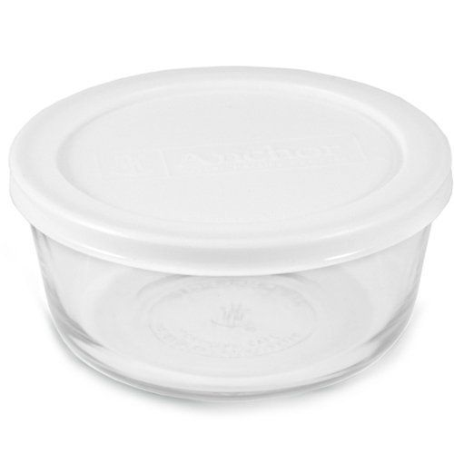 Anchor Hocking Round 1 Cup Glass Storage Container With White Plastic Lid Set Of 4 By Anchor Hocking 9 99 A Healthy Alternative T Glass Food Storage Glass Storage Containers Kitchen Storage Containers