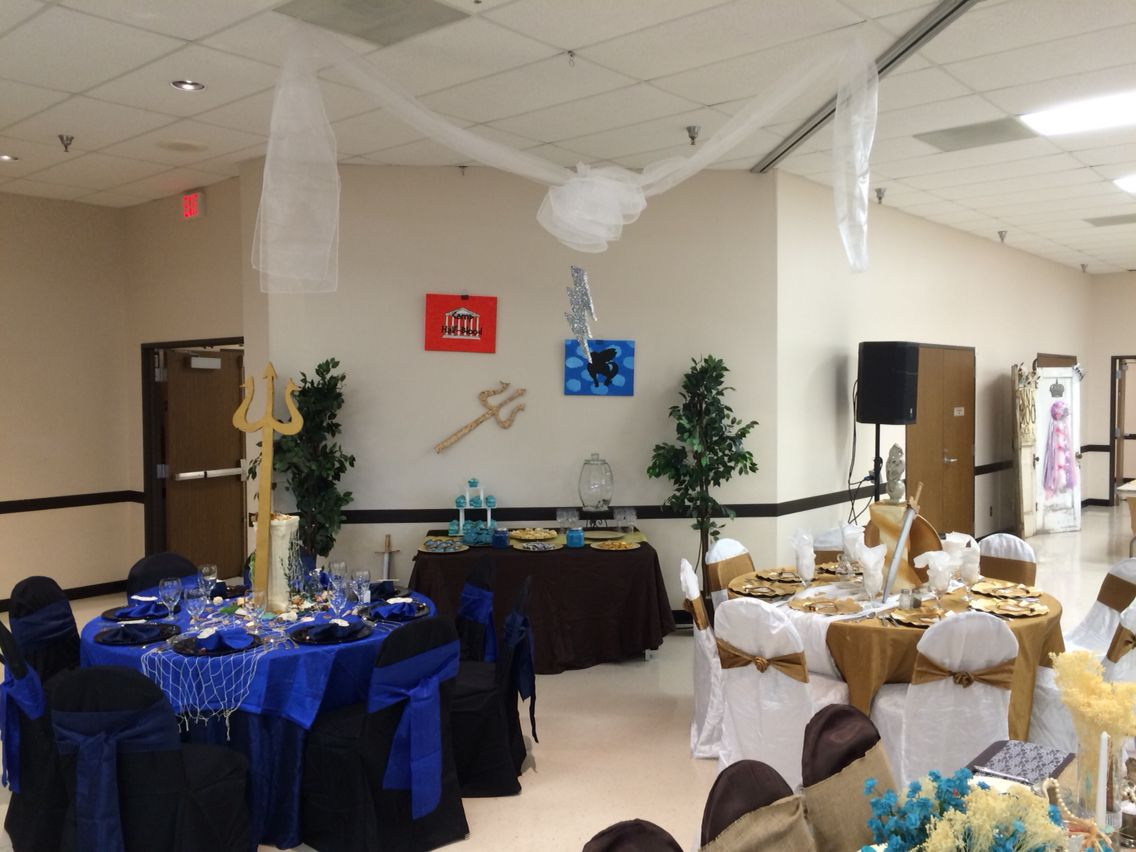 Percy Jackson themed senior serve table decoration. Percy