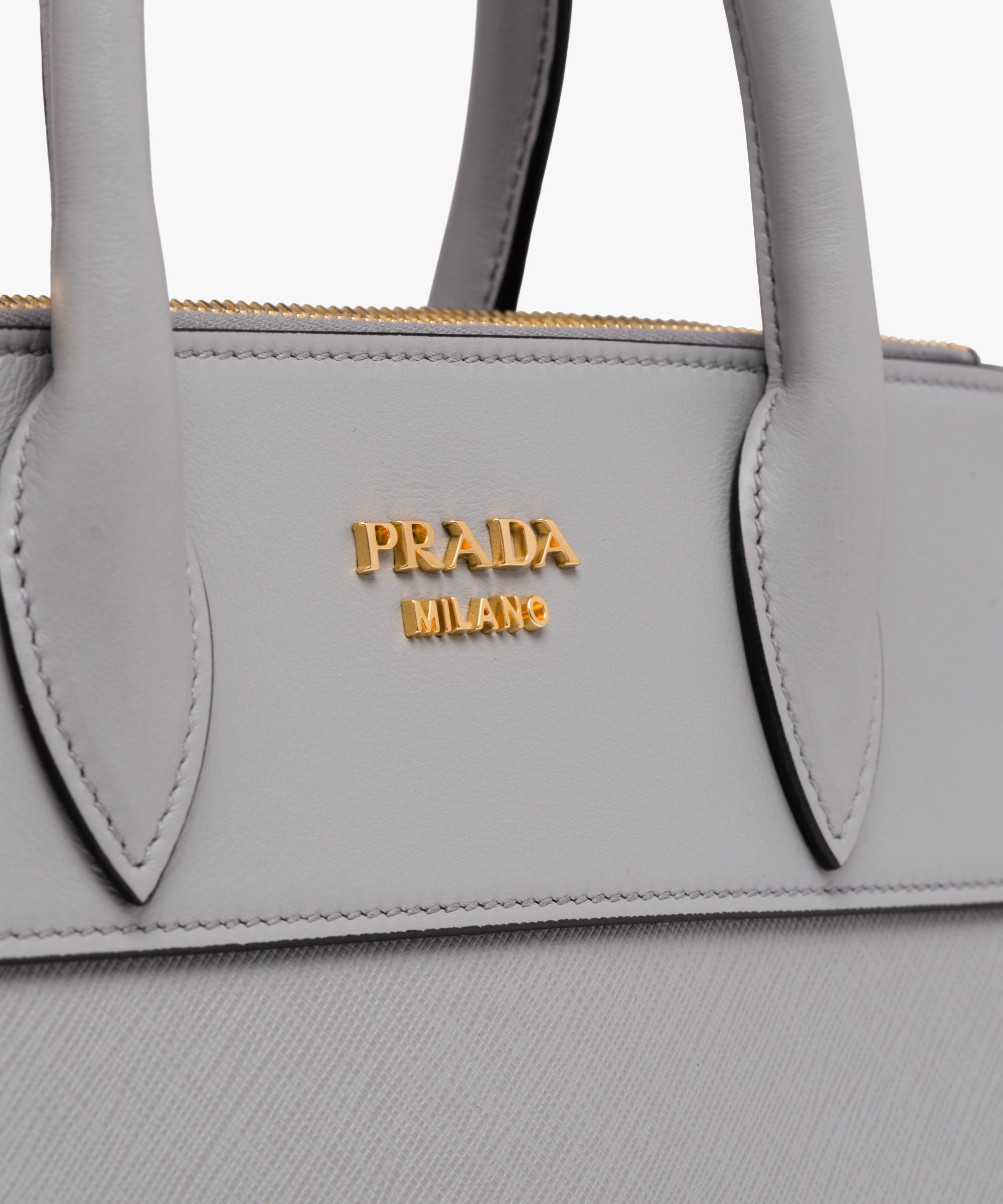 078295f98c66e8 Prada Paradigme Saffiano and calf leather bag Double leather handle  Detachable leather shoulder strap Gold-