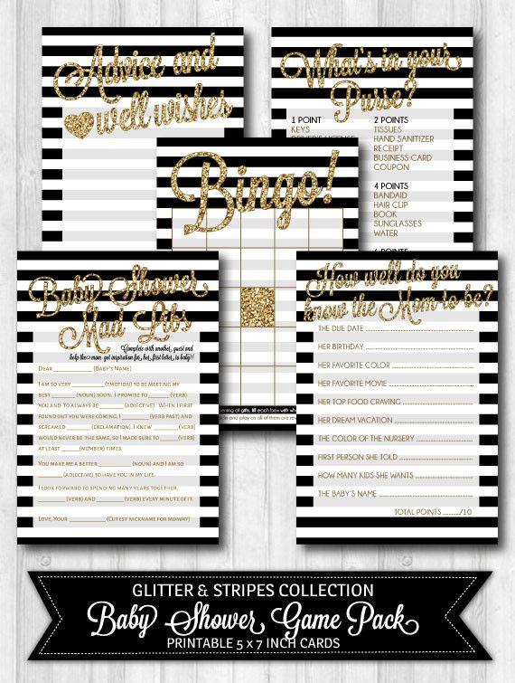 Baby Shower Games Gold Glitter, Black & White Stripes