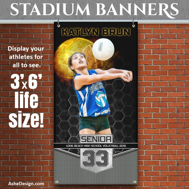 Amped Sports Banner 3x6 Great Balls Of Fire Volleyball Sport Banner Volleyball Banner