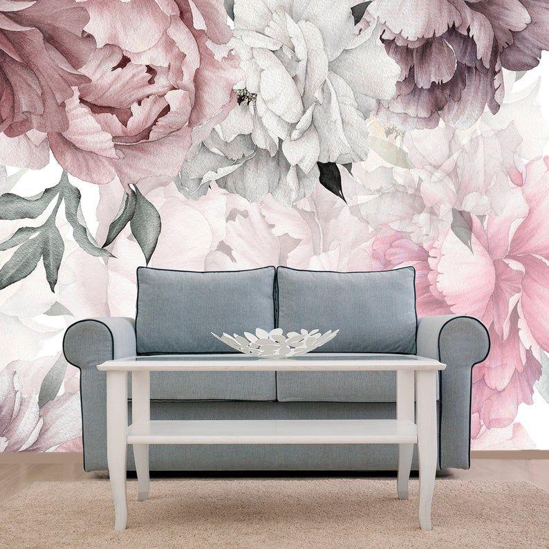 Peonies Wallpaper Removable Floral Wallpaper Peonies Etsy In 2020 Peony Wallpaper Nursery Wallpaper Floral Wallpaper
