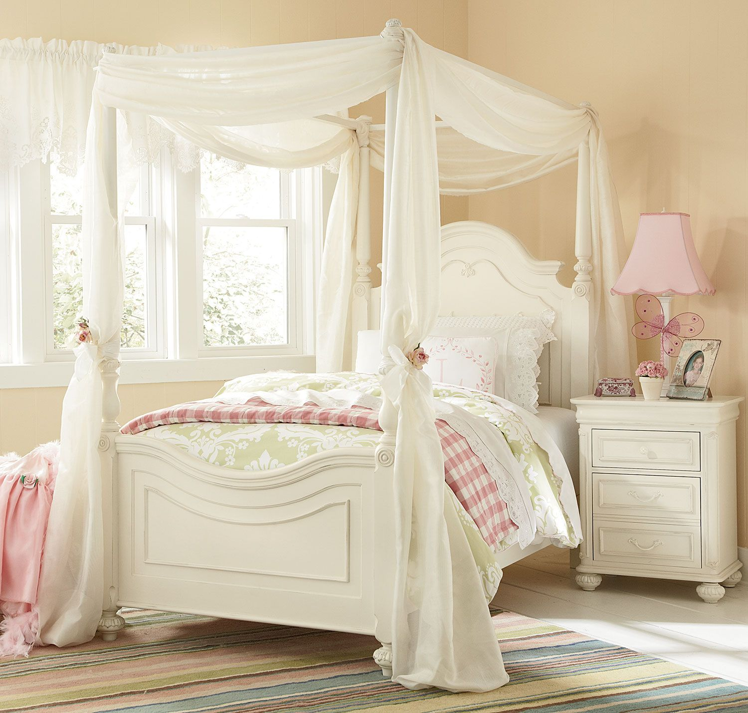 Bedroom Furniture - Amber Twin Canopy Bed - Antique White