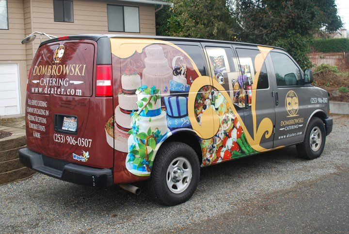 Wrapjax Com Partial Vehicle Wrap On Chevy Express Van For Dombrowski Catering Company Truck Wraps Graphics Vehicle Signage Car Wrap Design