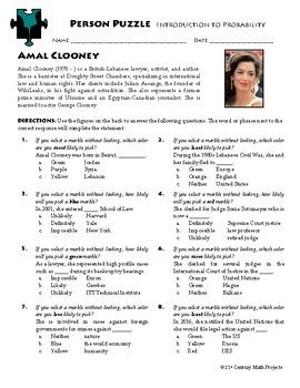 Person Puzzle Intro To Probability Amal Clooney Worksheet Probability Creative Math Math Curriculum