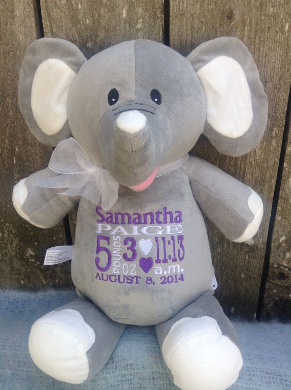Personalized baby gift elephant stuffed animal embroidered birth monogrammed baby gift personalized elephant embroidered birth announcement by worldclassembroidery 4299 purple and white gray elephant baby girl negle Gallery