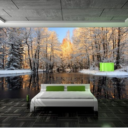 Beautiful lake forest mural using forest wall mural in for Beautiful wall mural