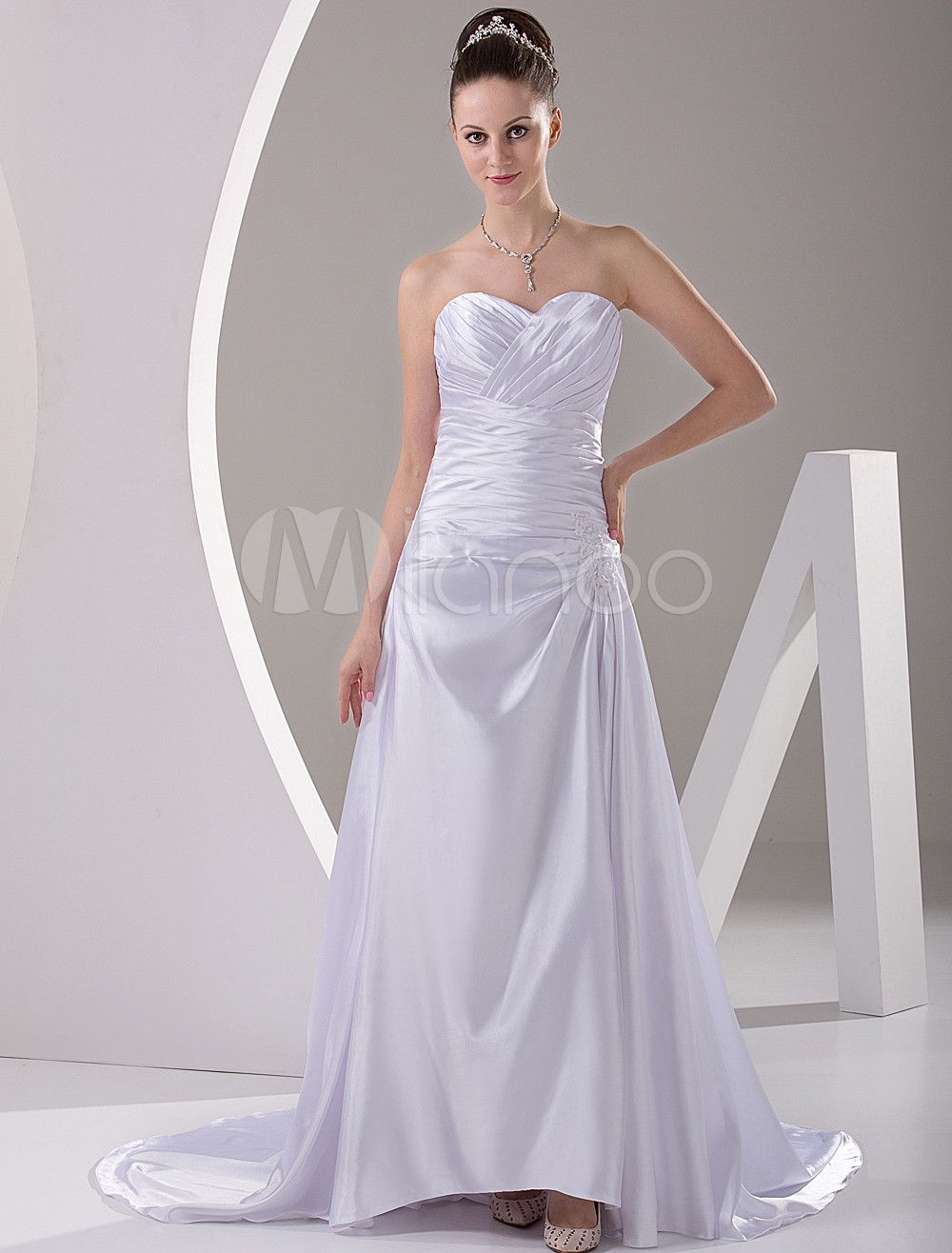 Wedding dresses with train  Milanoo Ltd Wedding Dresses Ivory Sweet Heart Satin Sweep