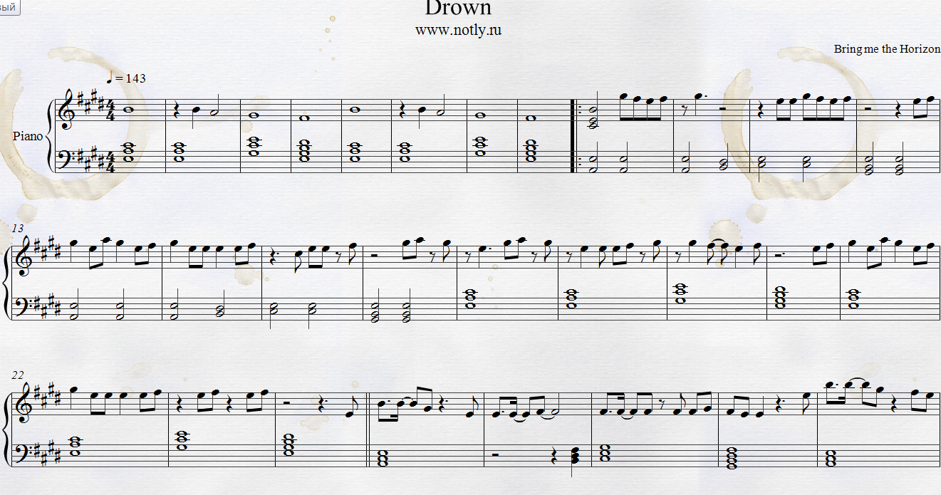 Bring Me The Horizon Drown Piano Sheets Metal Punk Oliver Sykes